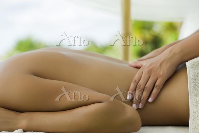 Woman getting massage, cropped