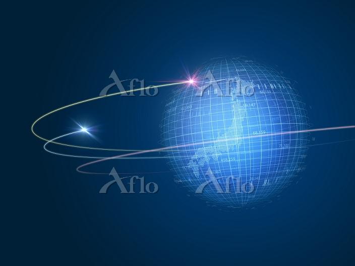 旋回する光線と線画の地球儀