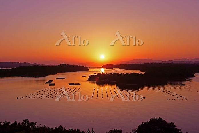三重県 英虞湾と夕陽