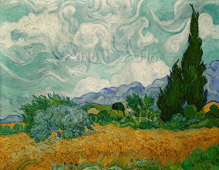 ゴッホ 「糸杉のある麦畑」