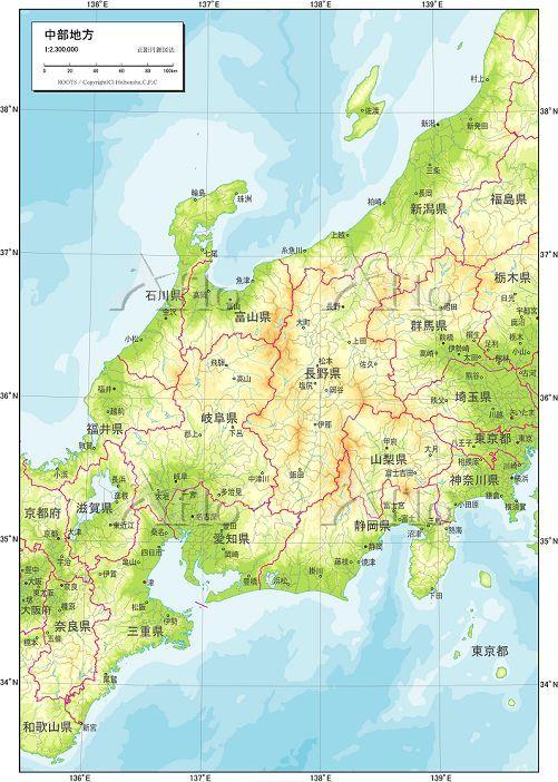 中部地方 地勢図