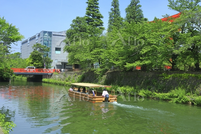 京都府 新緑の岡崎公園 琵琶湖疏水 十石舟めぐりと慶流橋