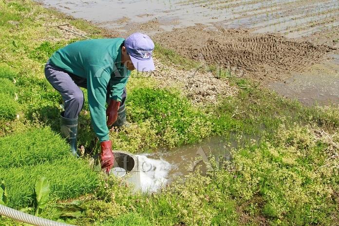 庄内平野の米作り 田に水を入れる 2014.05.11 山形・・・