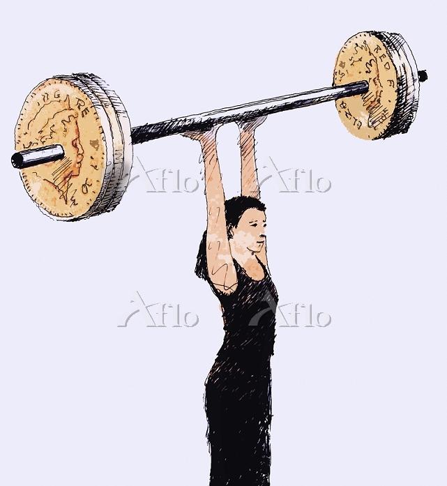 Woman lifting barbell with Bri・・・