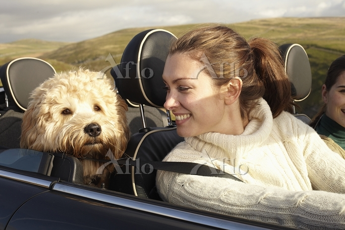 Women and dog driving in rural・・・