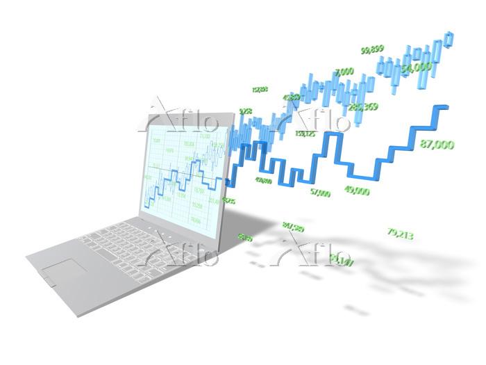 ノートPCから飛び出す株価チャート