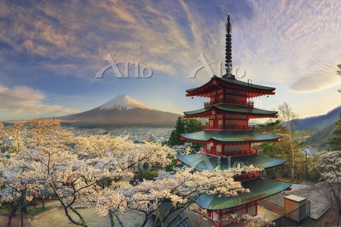 日本 山梨県 忠霊塔と富士山