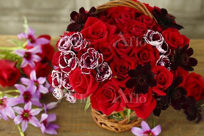 赤いバラとチョコレートコスモス