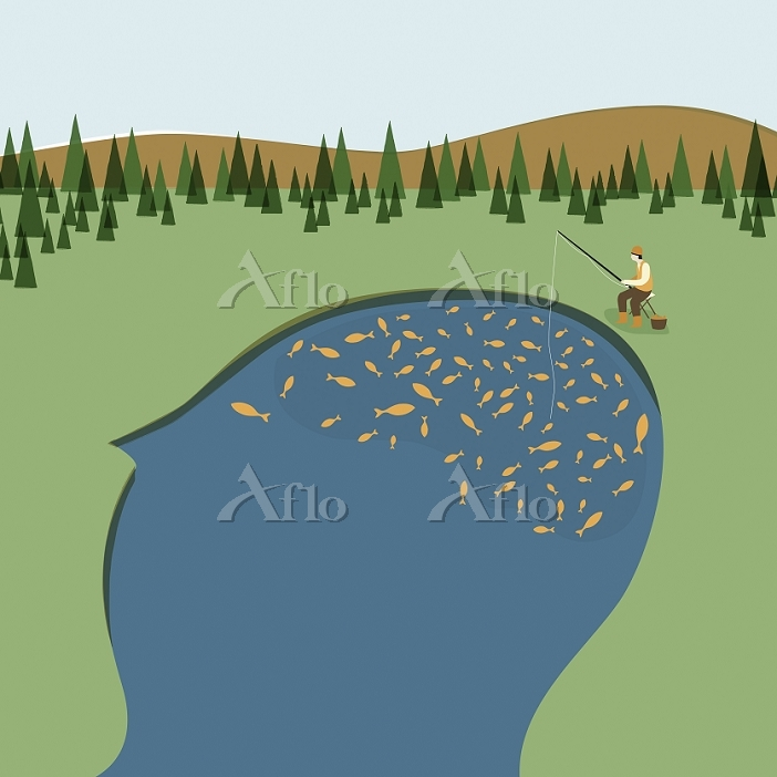 Man fishing in lake in outline・・・