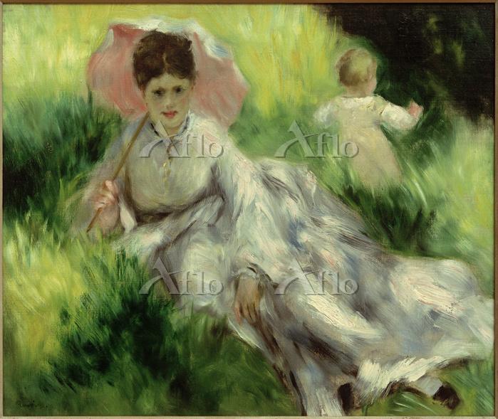 ルノワール「日傘をさした女性と子ども 」