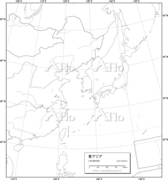 東アジア 白地図