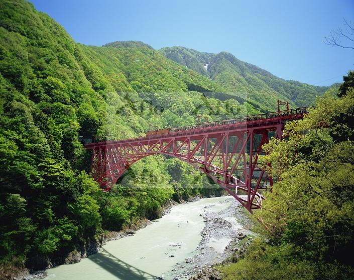 富山県・黒部峡谷 新山彦橋とトロッコ列車