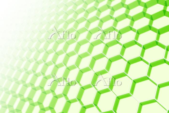 一面の立体的な六角形と光 CG