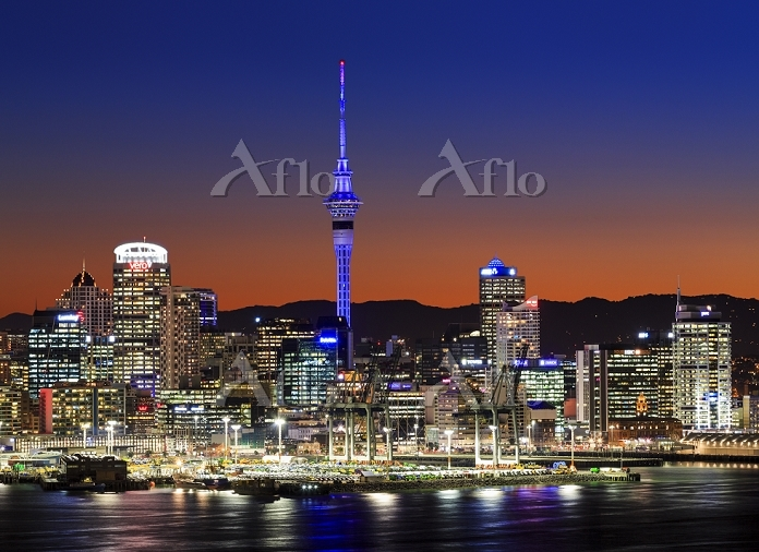 ニュージーランド デボンポートよりオークランド市街 夜景