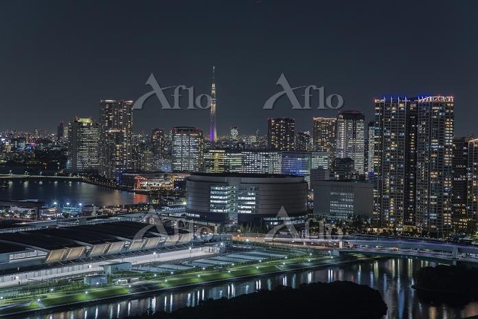 東京都 豊洲市場と豊洲のビル群とスカイツリー 夜景