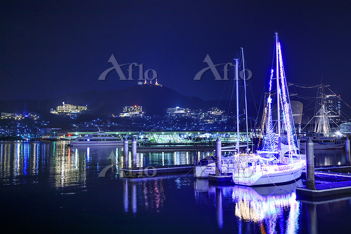 長崎県 長崎港と稲佐山の夜景
