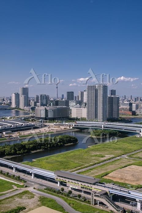 豊洲市場建設現場と豊洲周辺のビル群