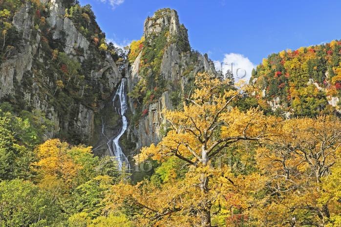 北海道 層雲峡の銀河の滝の紅葉