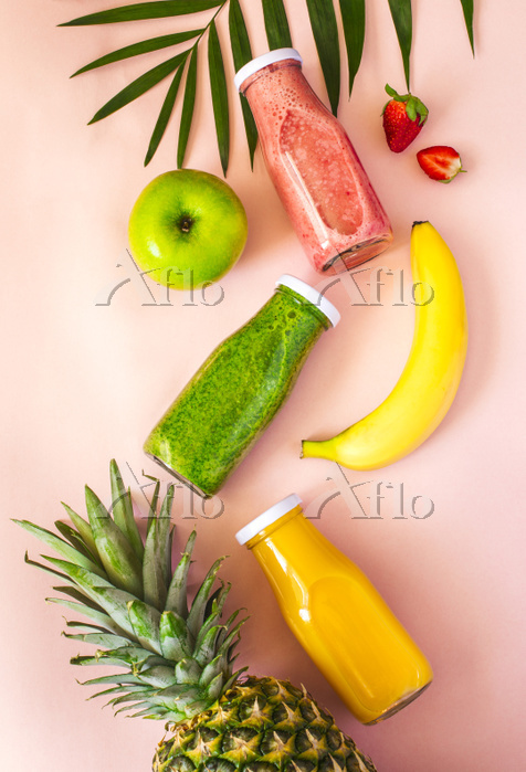 Colorful smoothies in bottles ・・・