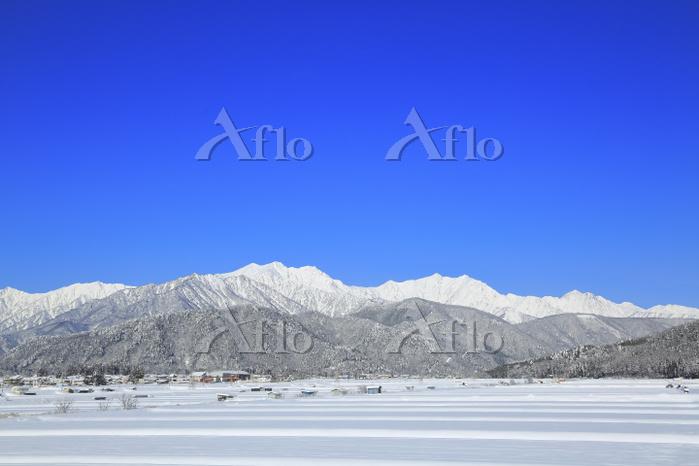 長野県 雪原の田園と北アルプス後立山連峰(左より爺ヶ岳・鹿島・・・