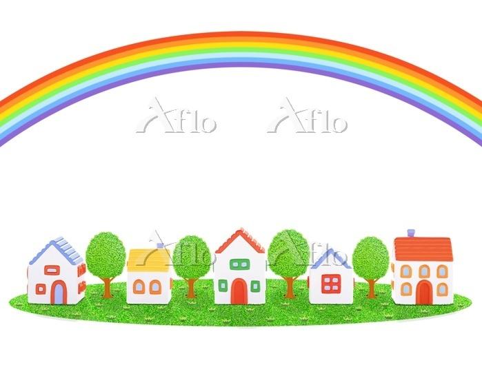 5棟の家と虹