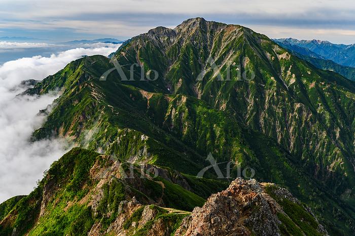 唐松岳から五竜岳に続く尾根