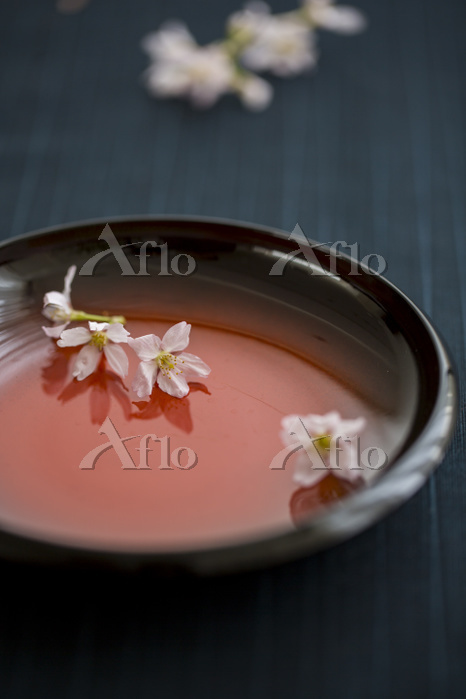 和皿と桜の花