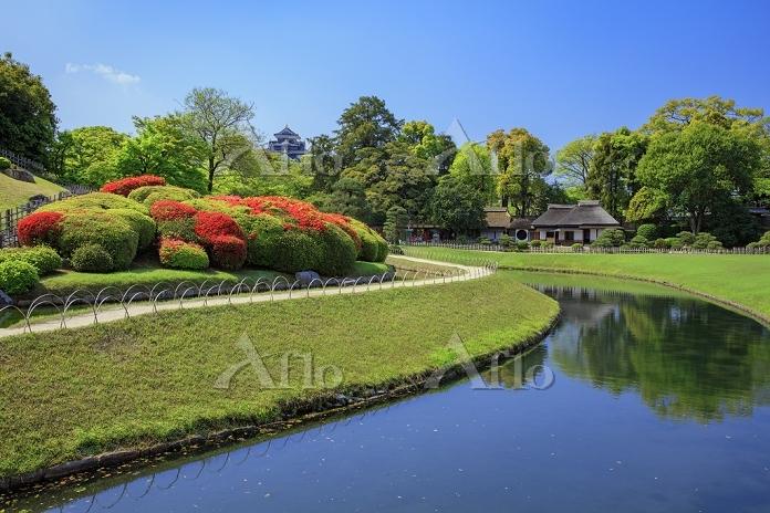 岡山県 キリシマツツジ咲く岡山後楽園から廉池軒と岡山城天守閣