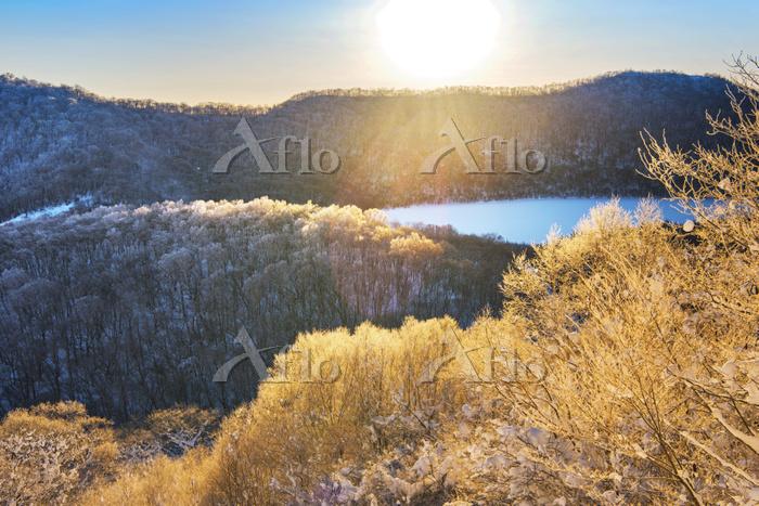 群馬県 赤城山 地蔵岳の霧氷 朝
