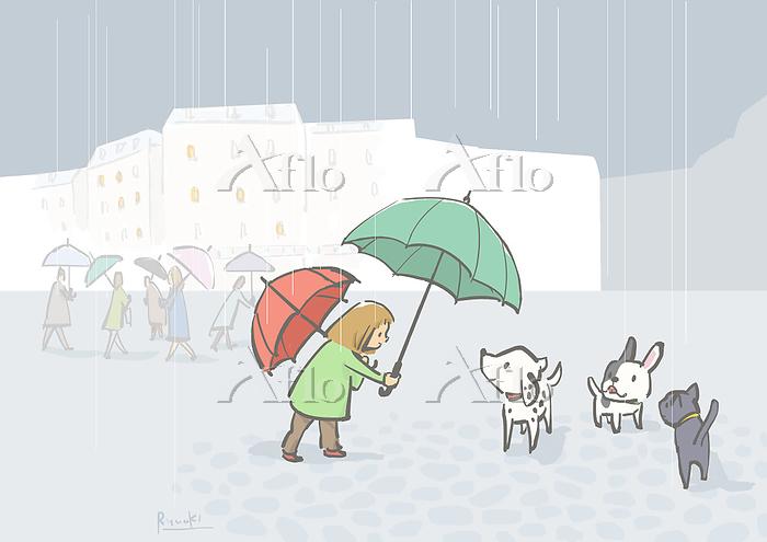 雨の日の街角で
