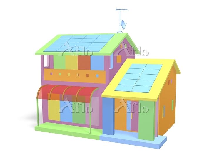 カラフルな一戸建て住宅