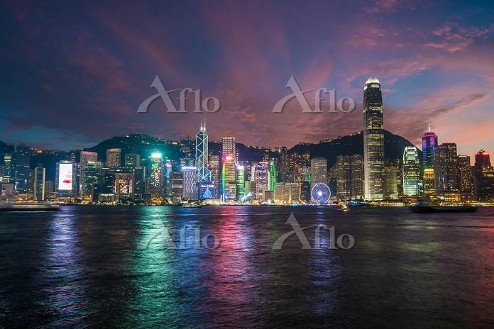 中国 香港 ビクトリア湾 夜景