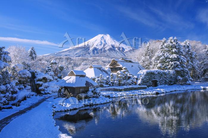 山梨県 忍野村 雪のはんの木林民俗資料館より富士山