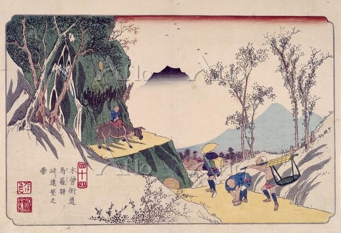 歌川広重 「木曽海道六十九次 馬籠」