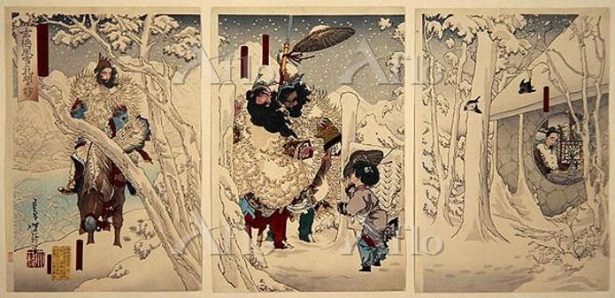 月岡芳年「三国志図会内 玄徳風雪に孔明を訪ふ」
