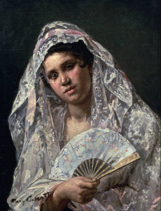 メアリー・カサット 「レースのマンティーラを着たスペインの踊・・・