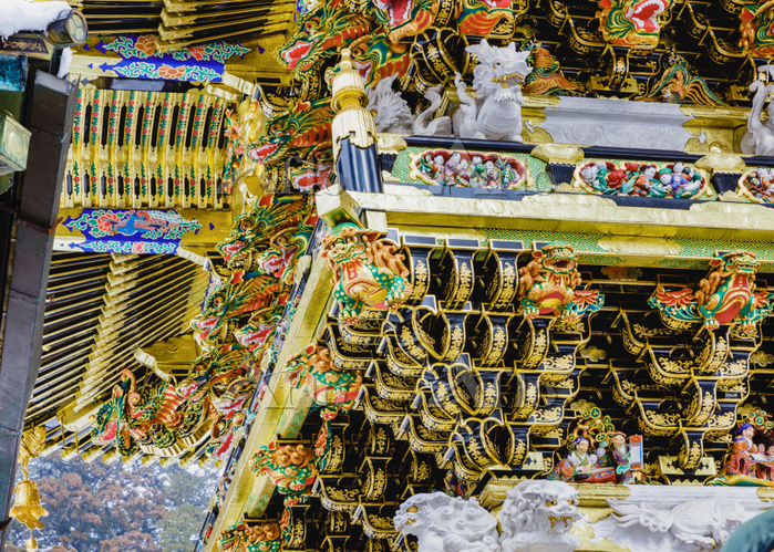 栃木県 日光東照宮 陽明門 正面左の彫刻