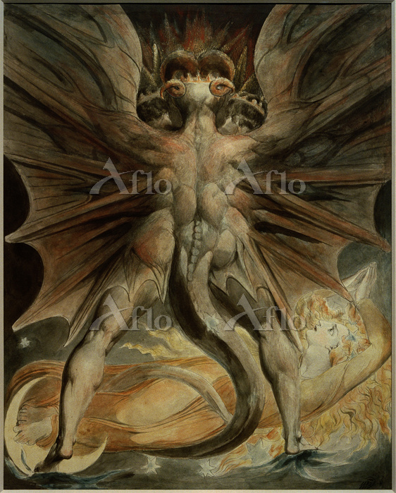 ウィリアム・ブレイク 「巨大な赤い龍と太陽の衣をまとった女」