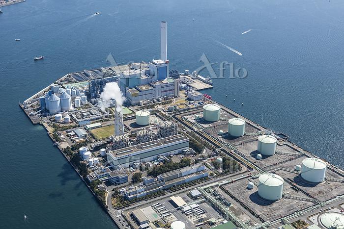 神奈川県 横浜市 磯子火力発電所の空撮