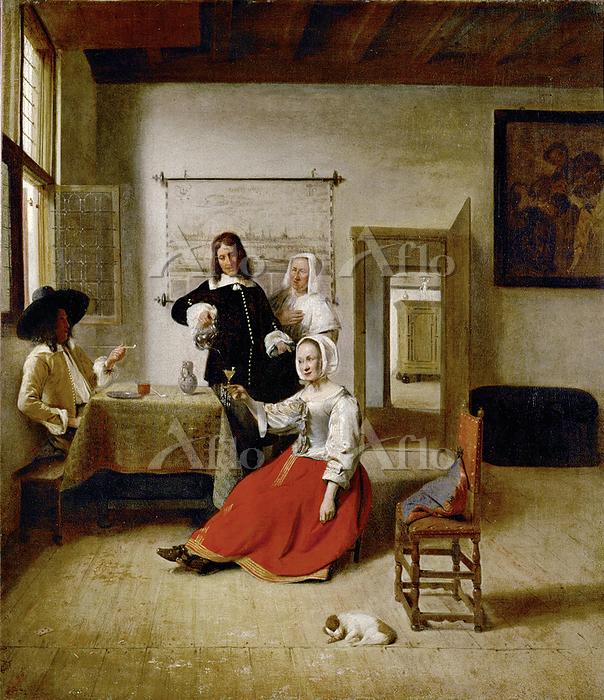 ピーテル・デ・ホーホ 「兵士とワインを飲む女」