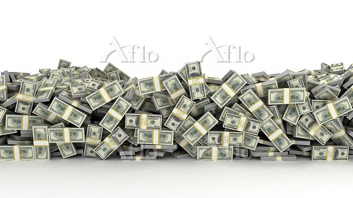 Pile of US dollar bills, illus・・・