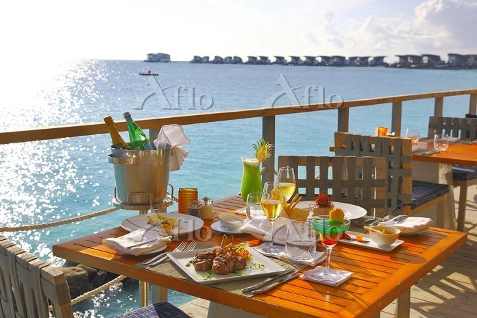 モルディブ 海辺のレストラン