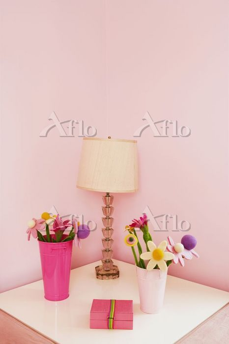 Vases with a lampshade on a ni・・・