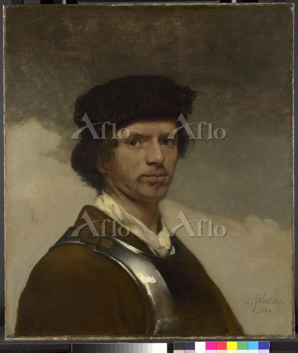 カレル・ファブリティウス「毛皮の帽子と胴よろいの若者(自画像・・・