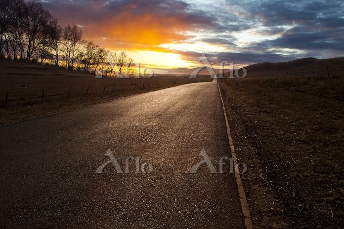 Sunset by a country road