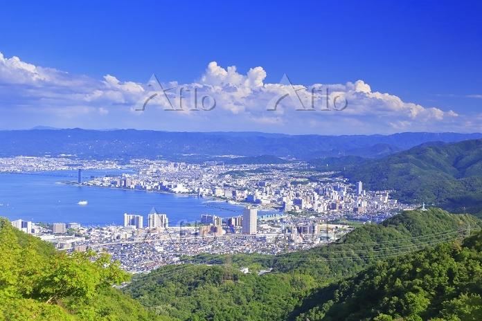 滋賀県 琵琶湖と大津市街 比叡山ドライブウェイの夢見が丘付近・・・