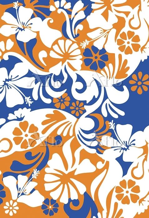 Orange blue white tropical flo・・・