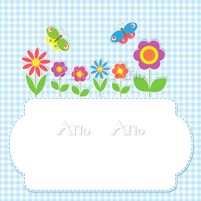 Frame with flowers and butterf・・・