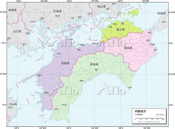 四国地方 行政区分図