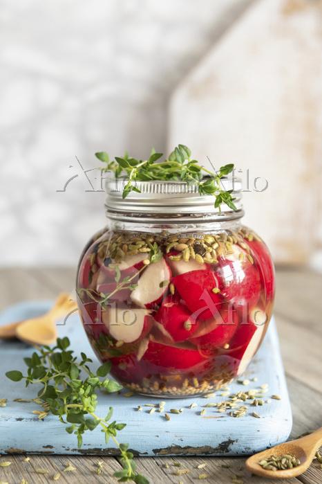 Fermented radishes in brine